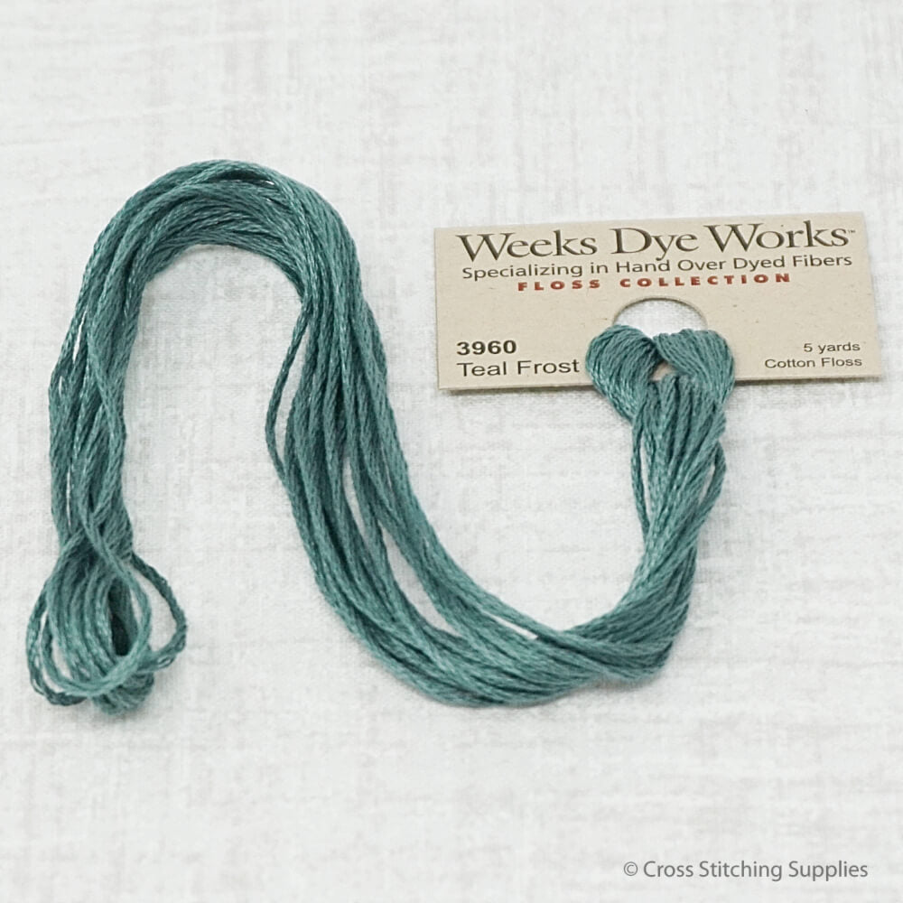 Teal Frost Weeks Dye Works overdyed floss