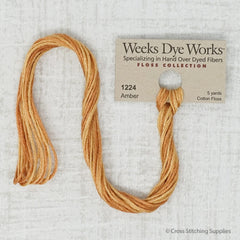 Weeks Dye Works - Amber (5 yd. skein) Overdyed Floss