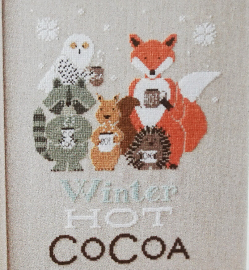 Winter Hot Cocoa counted cross stitch pattern