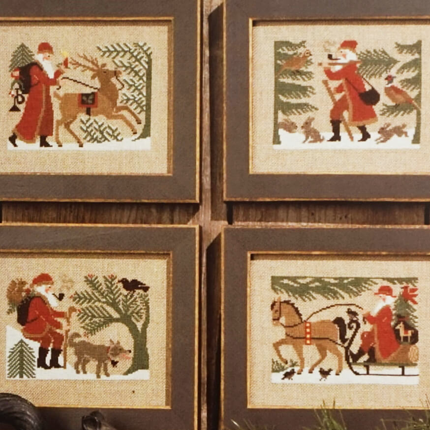 Woodland Santas counted cross stitch patterns