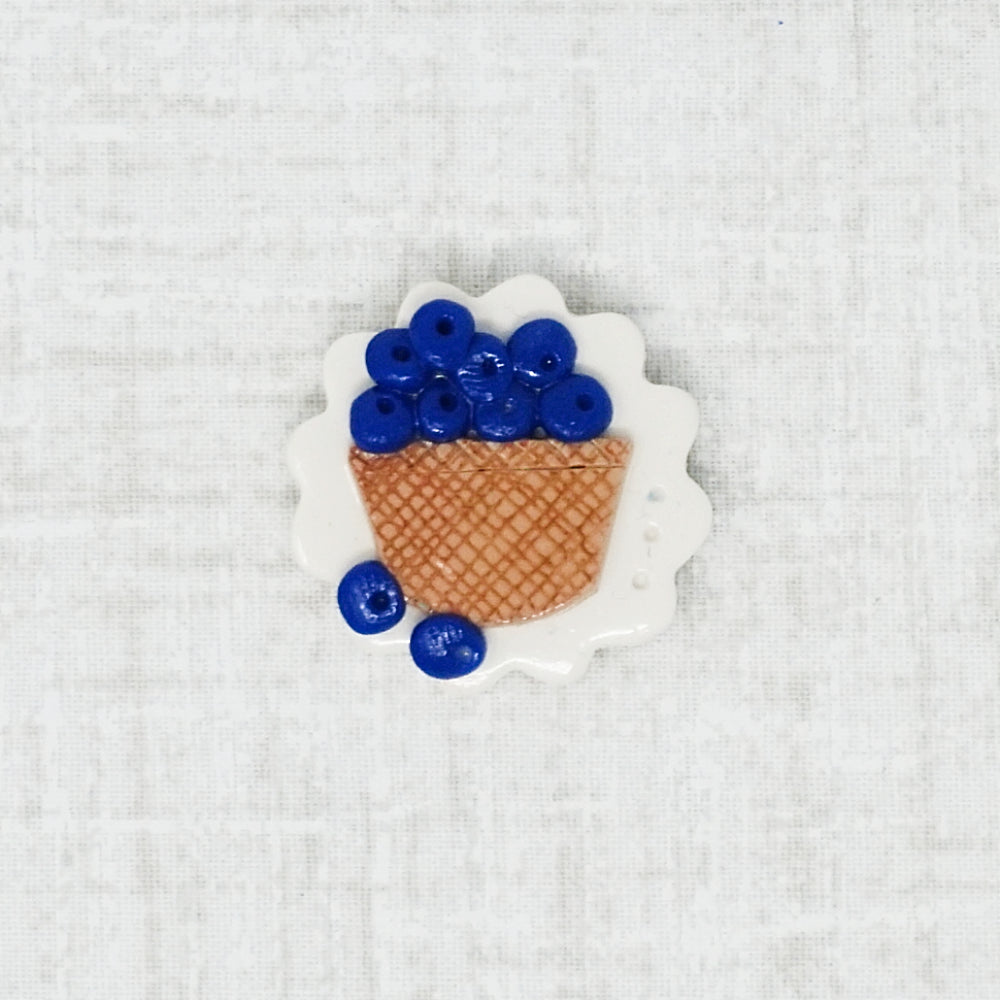 basket of blueberries handmade needle minder