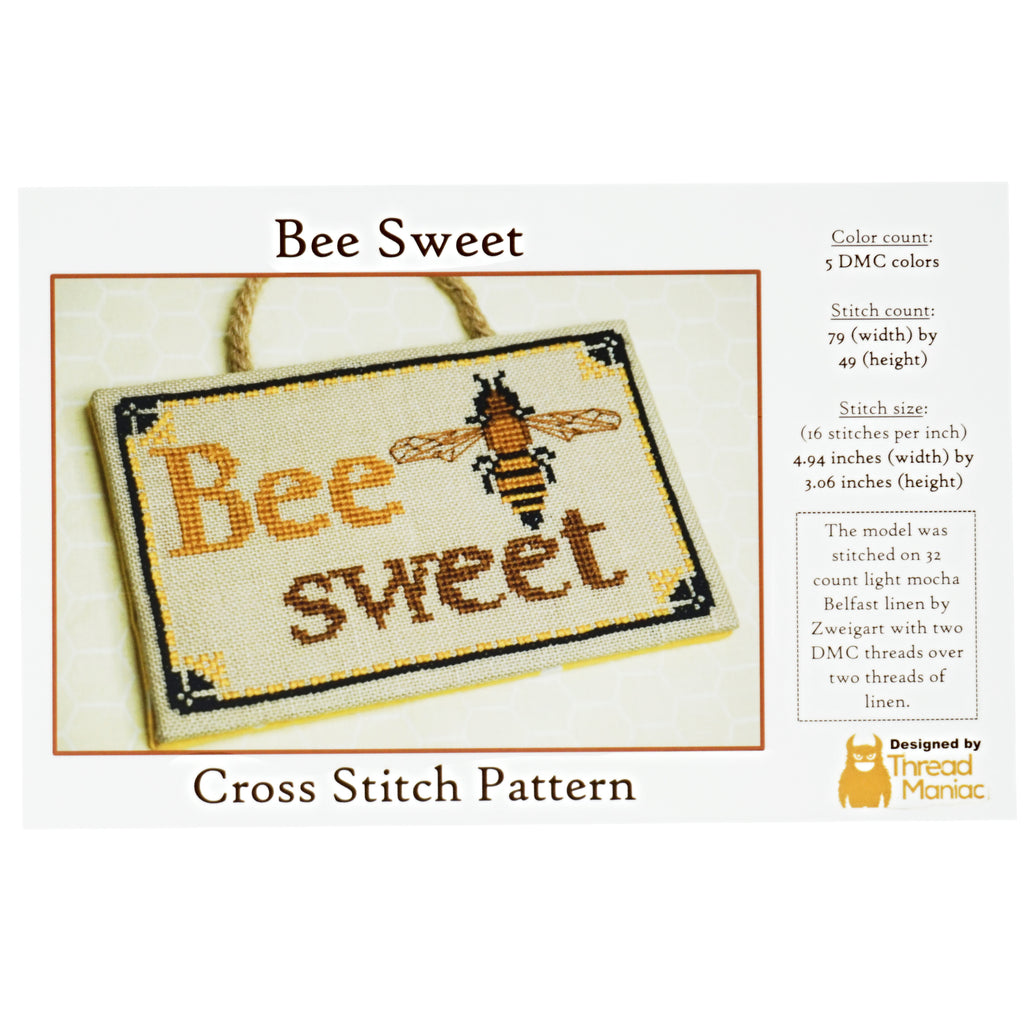 Thread Maniac Designs bee sweet cross stitch pattern