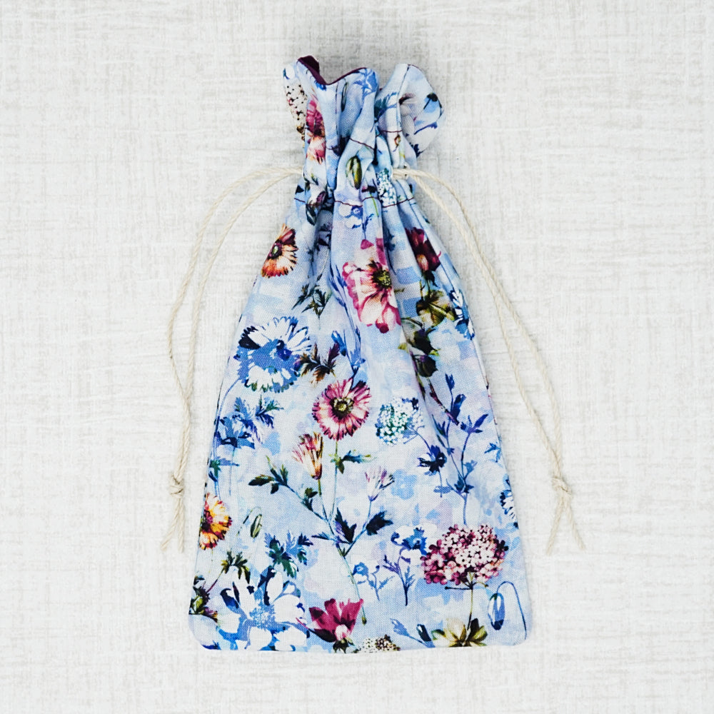 colorful floral drawstring bag for cross stitch