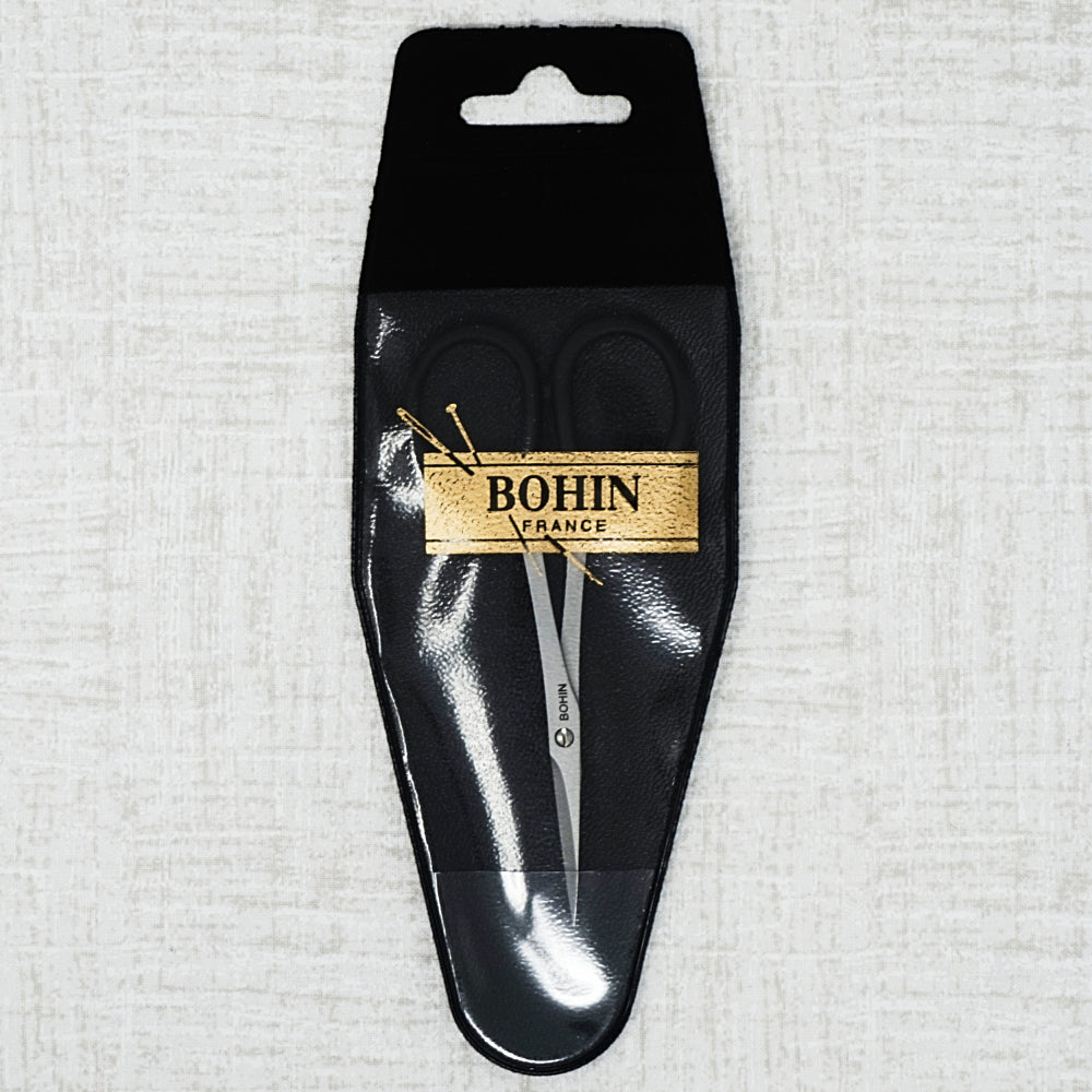 Bohin black handle embroidery scissors in protective sleeve