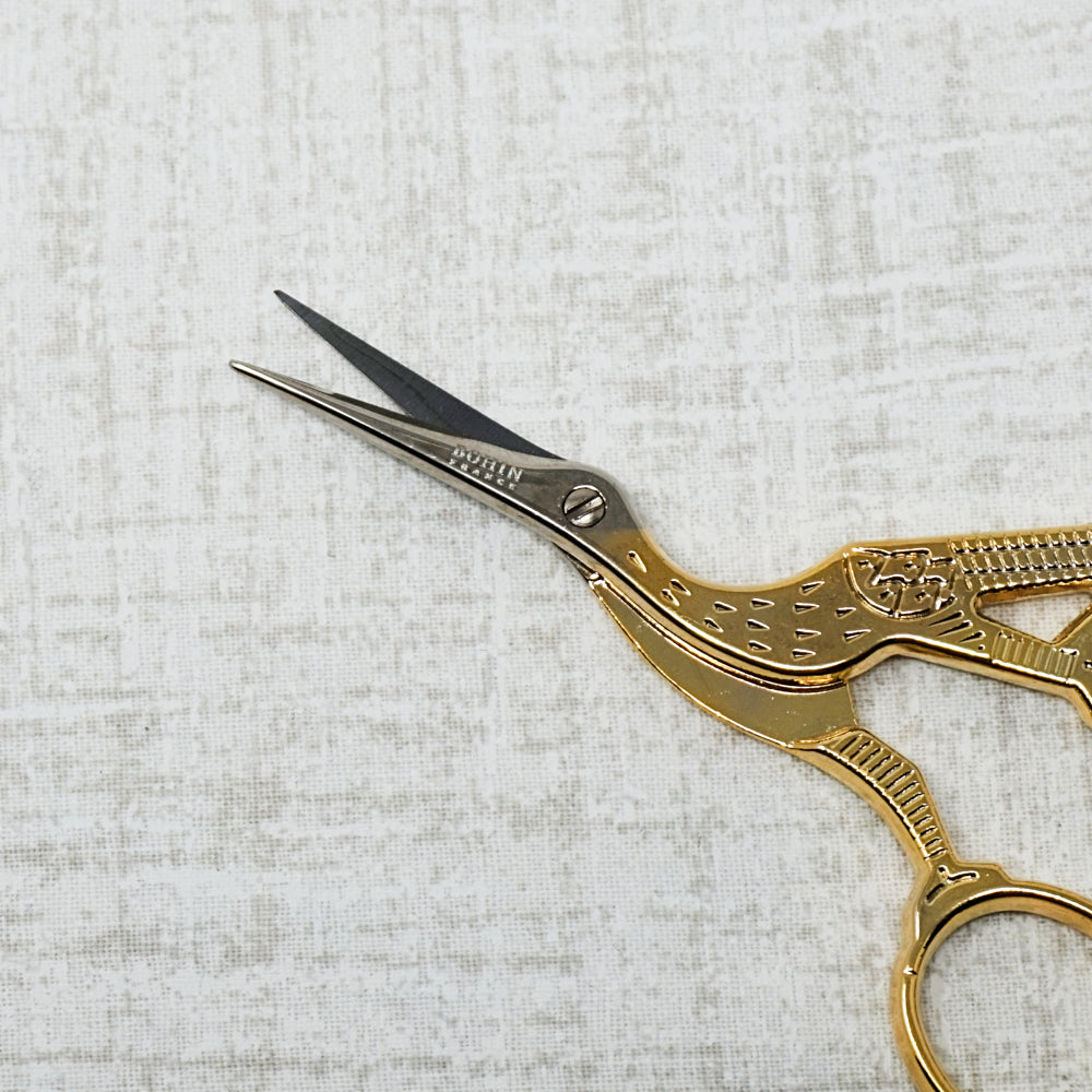Bohin Stork Embroidery Scissors close up of blades