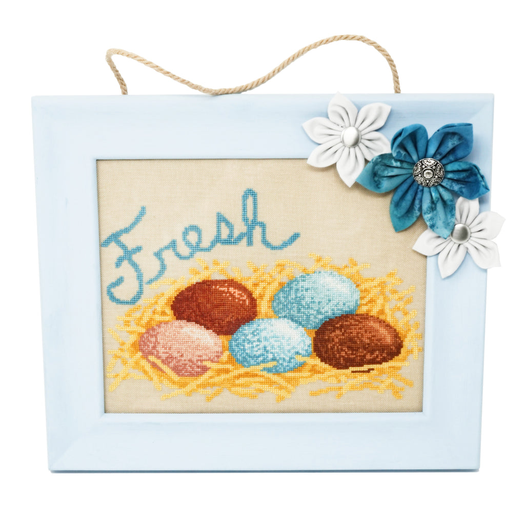 Country Farm Fresh Eggs Cross Stitch Pattern