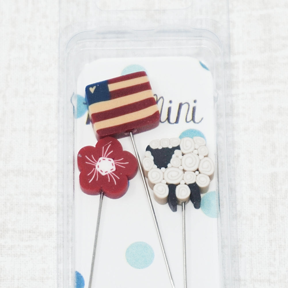 All-American Ewe - flag, ewe, and red flower pins