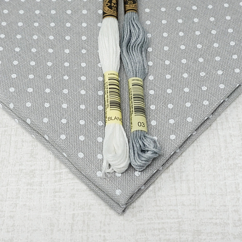Grey with White dots 36 count edinburgh linen from Zweigart for sale