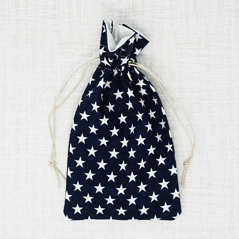 navy, stars cross stitch accessory bag