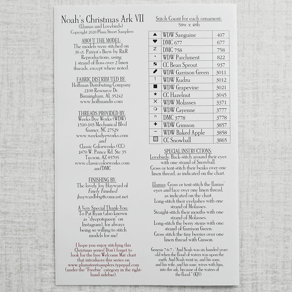 back of Noah's Christmas Ark VII pattern for sale