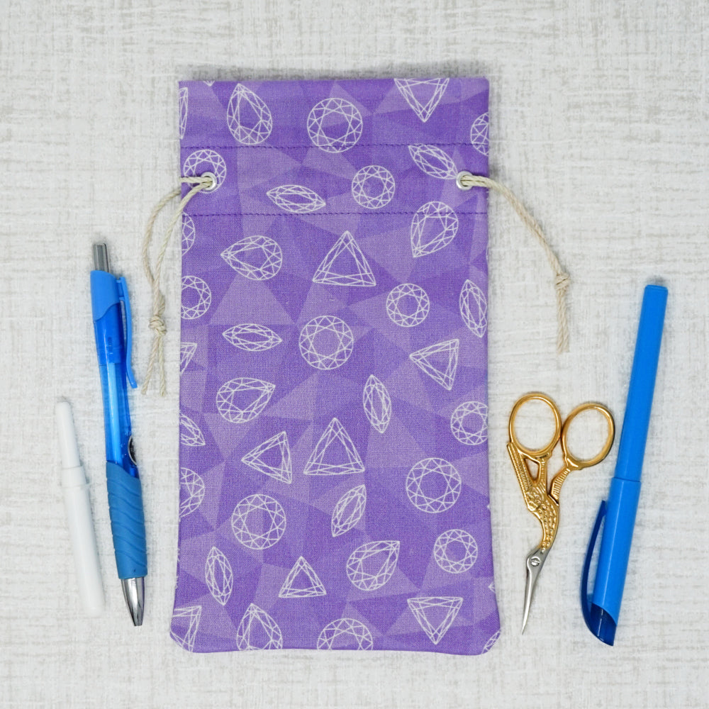 Purple, Gems Drawstring/Accessory Bag
