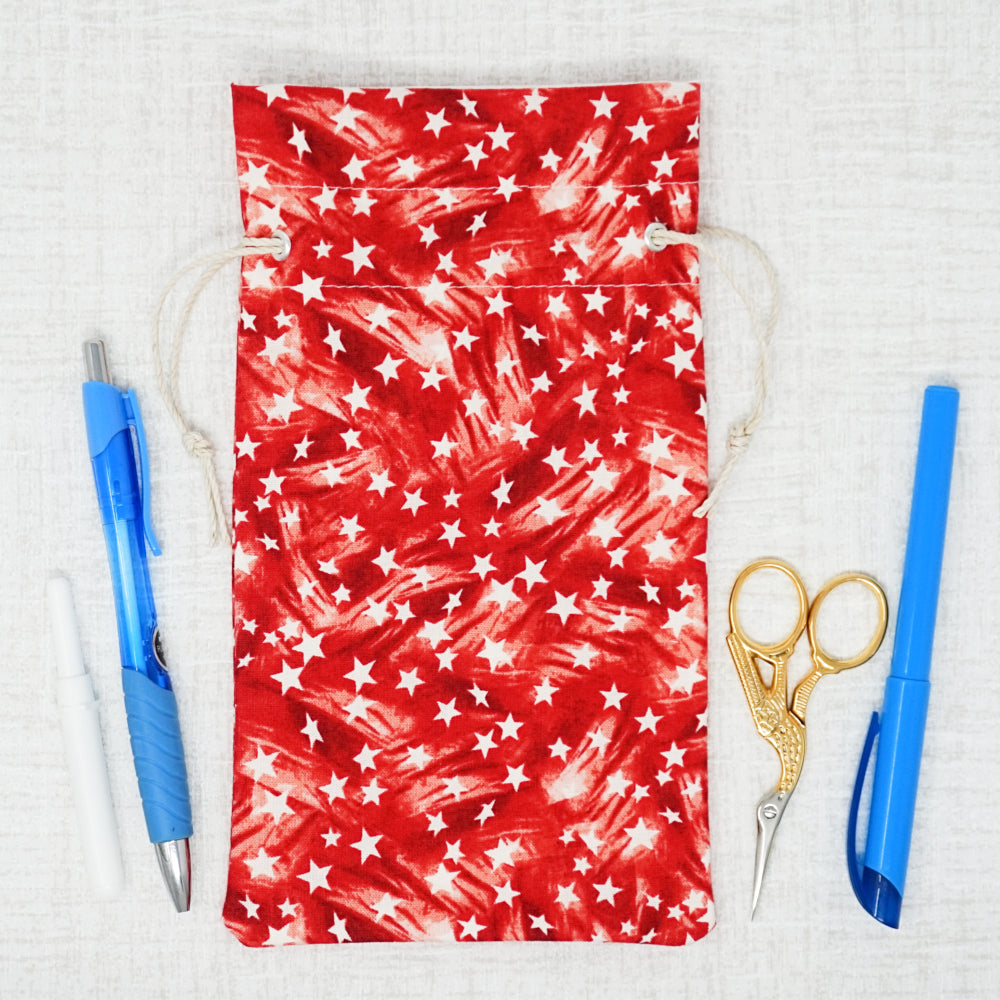 Red, stars cross stitch accessory bag