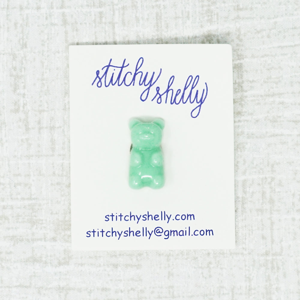 teal gummy bear needle minder by stitchy shelly
