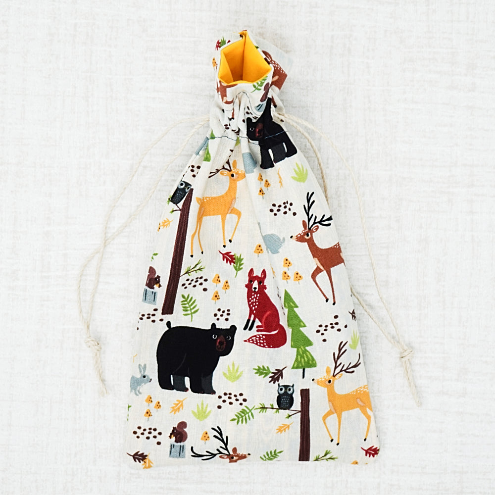 wild animals cross stitch drawstring bag