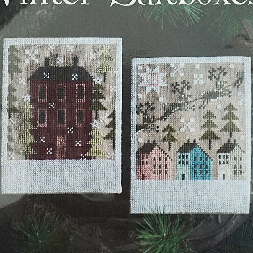 Winter Saltboxes counted cross stitch pattern