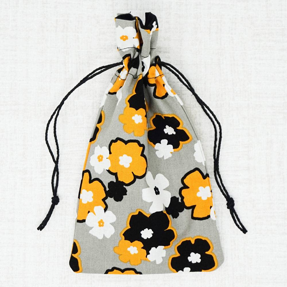 yellow floral drawstring bag for cross stitch