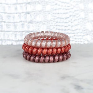 Hot Line Hair Ties - Dusty Rose Glitter Set