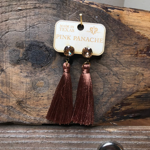 Tassel earrings-brown