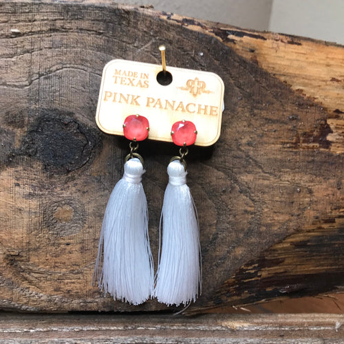 Tassel Earrings- Orange/White