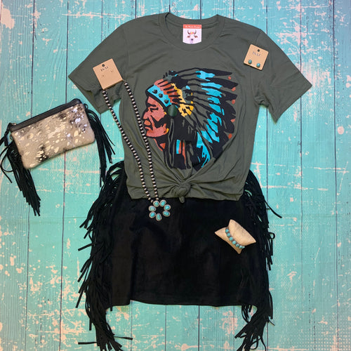 Western boutique style graphic tee beef Ranch native American chief