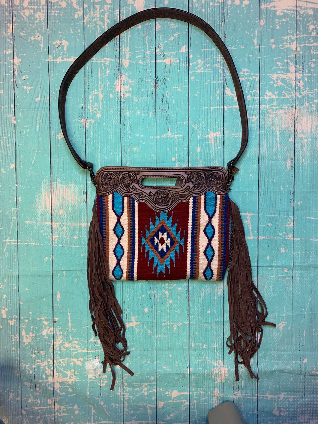 The Ramsey Saddle Blanket Purse- Maroon & Teal