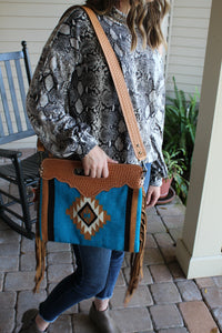 The Ramsey Saddle Blanket Purse (teal)