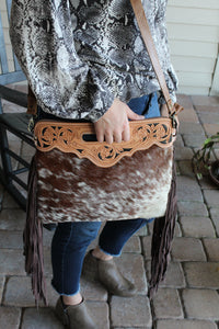 Chocolate Speckled Cowhide Purse