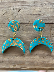 Clay Dangle Earrings - Turquoise moon