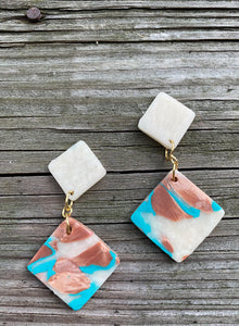 Clay Dangle Earrings - Montana skies