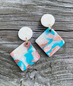 Clay Dangle Earings - Translucent top