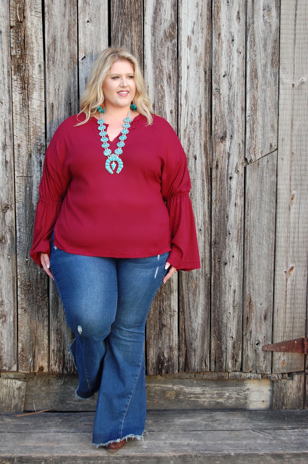 Red bell top (curvy)