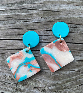 Clay Dangle Earrings - Turquoise top