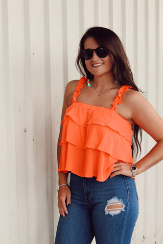 Fire Me Up Ruffle Tank