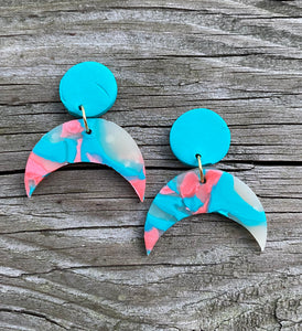 Clay Dangle Earrings - Cotton Candy