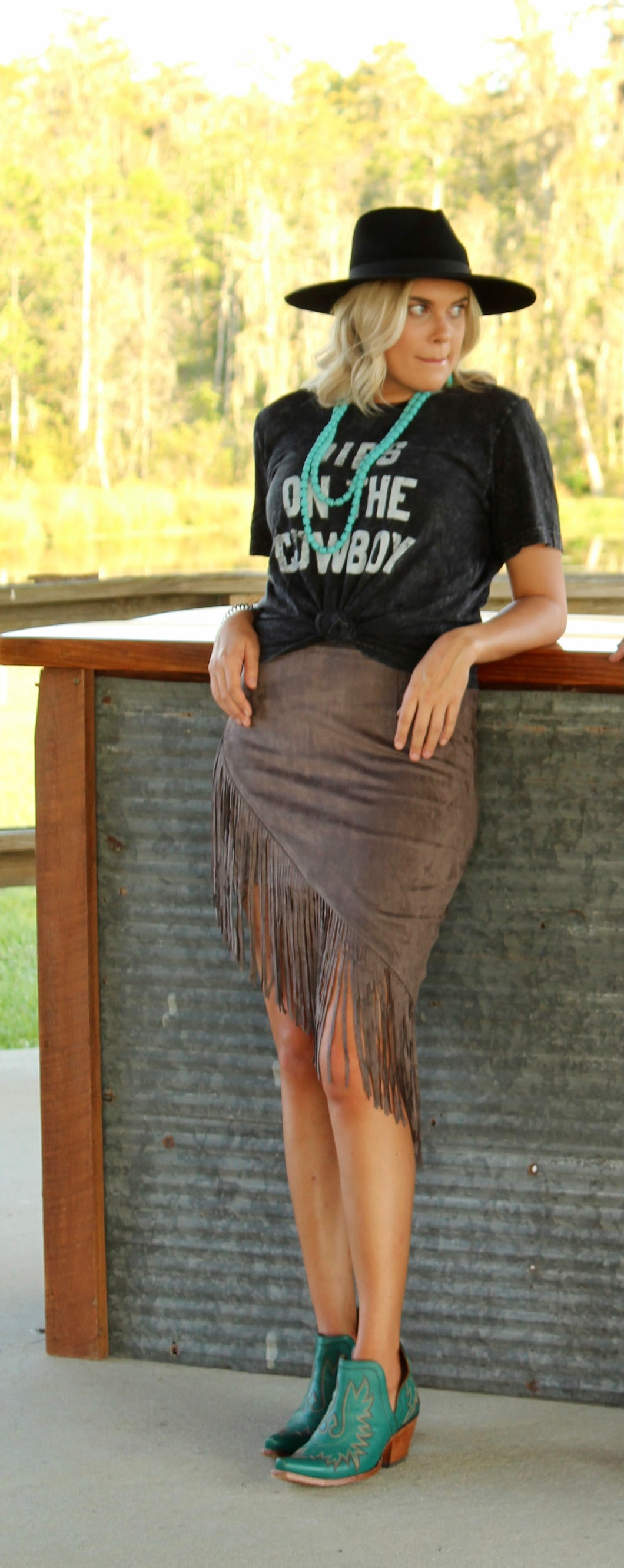 Ride Sally Faux Suede Fringe Skirt