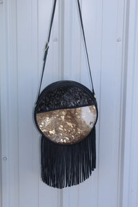 Round Top Crossbody- black/gold
