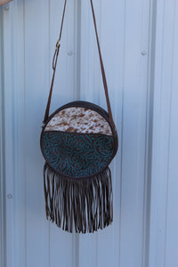 Round Top Crossbody- tooled/ speckled hide