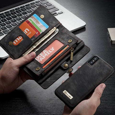 Detachable PU Leather Wallet Case For iPhone