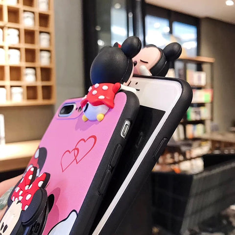Matching Mickey Minnie phone case with lanyard and pop socket for iPhone