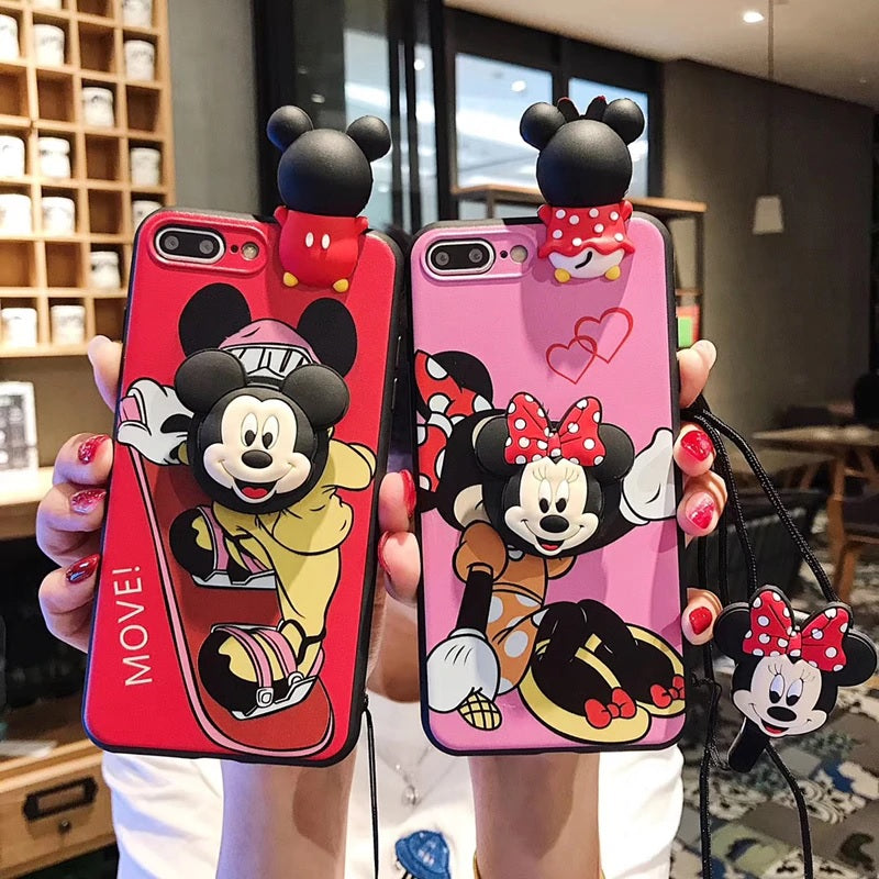 Mickey and Minnie silicone iPhone Cases with Kick Stand and lanyard