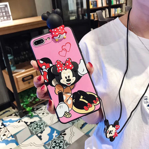 Matchin Mickey Minnie phone Case with lanyard and pop socket for iPhone