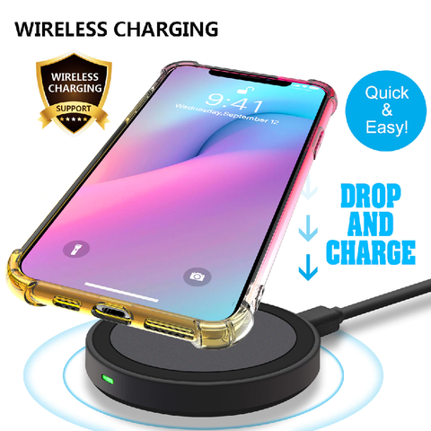 Gradient iphone case supports wireless charging