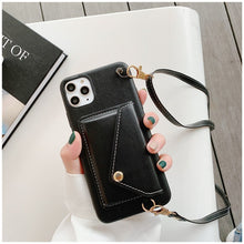 Load image into Gallery viewer, Black Iphone Wallet Case with strap