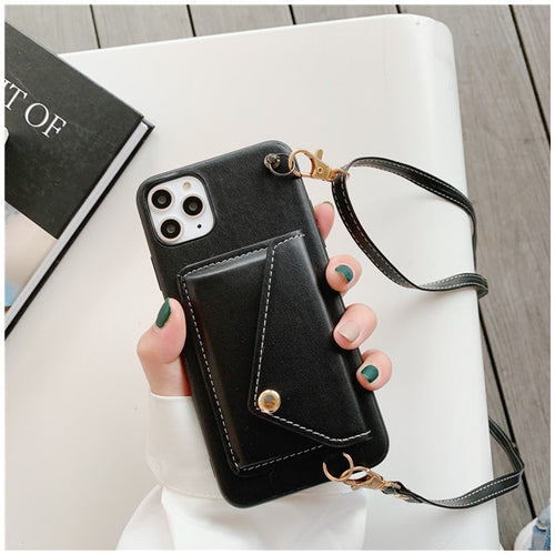 Black Iphone Wallet Case with strap