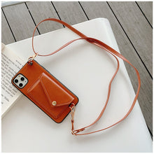Load image into Gallery viewer, Brown Iphone Wallet Case with strap