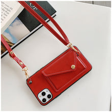 Load image into Gallery viewer, Red Iphone Wallet Case with strap