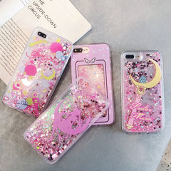 Quick sand liquid glitter flowing case