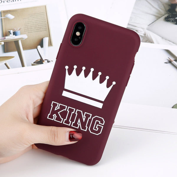 TPU Matte Crown Couples Phone Case For iPhone