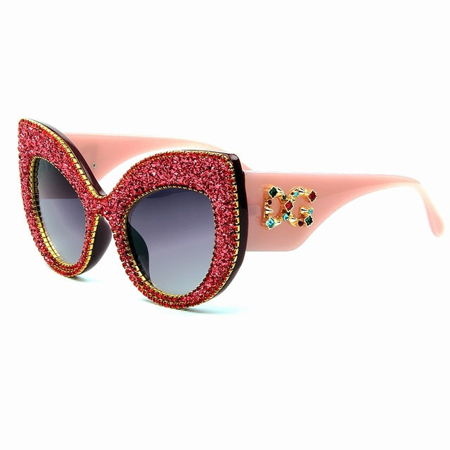 Oversized Vintage Bling Cat Eye Sunglasses For Women