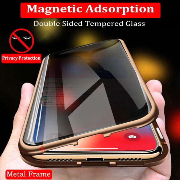 Magnetic Tempered Glass Privacy Metal Phone Case -Magnet Antispy Protective Cover For Iphone XR XS MAX X 8 7 Plus 6s 6 Plus